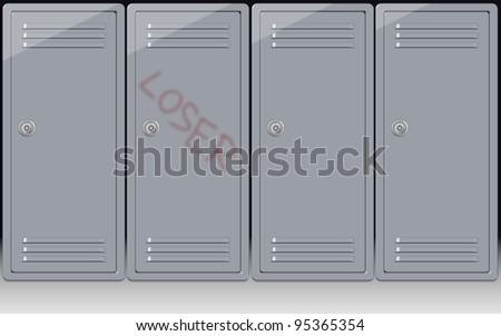 a word loser written on one school locker / school bullying - stock photo