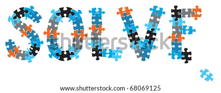 A word SOLVE formed with puzzle pieces