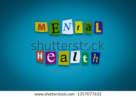 A word writing text - mental health - of cut letters on a blue background. Headline - mental health. Banner with inscription - mental health. Psychologic concept. #1357077632