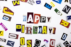 A word writing text showing concept of Happy Birthday made of different magazine newspaper letter for Business case on the white background with space