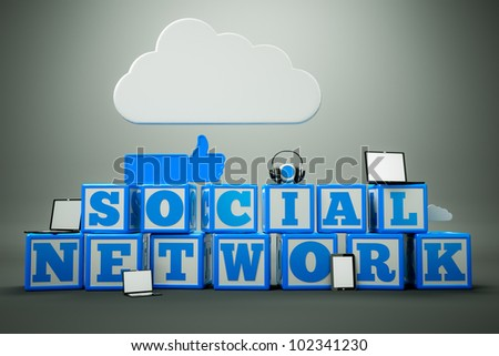 "a words ""social network"" in cubes"