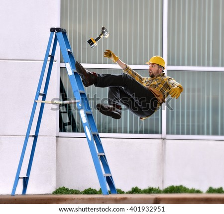 A worker falls from ladder while making repairs to building