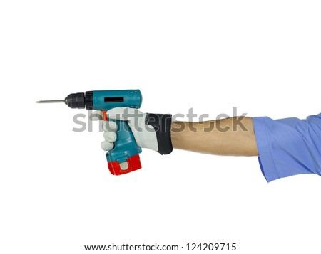 A worker holding a drilling tool used in construction job