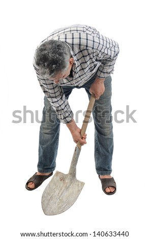 a worker works with a shovel