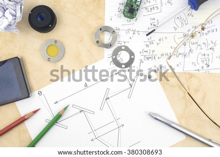 A working area of a researcher and developer of new technologies and machines using mechanics, electronics, optics and invention.