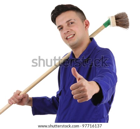 A workman with a broom and a thumbs up sign, isolated on white