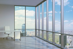 A workplace in a modern corner panoramic office in Manhattan, New York. A concept of financial consulting services.