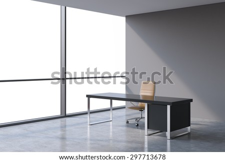 A workplace in a modern panoramic office, copy space view from the windows. A concept of financial consulting services. A brown leather chair and a black table. 3D rendering.