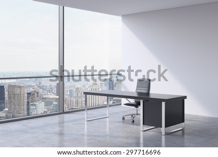 A workplace in a modern panoramic office, New York city view from the windows. A concept of financial consulting services. 3D rendering.