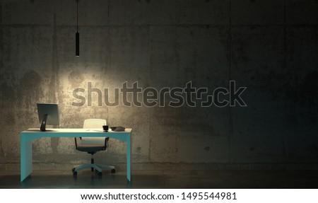 A workplace with one office desk and an armchair in an empty gloomy dark room. Hard hateful work late at night in the twilight. 3D rendering of interior in loft style with copy space