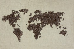 A world map made out of coffee beans