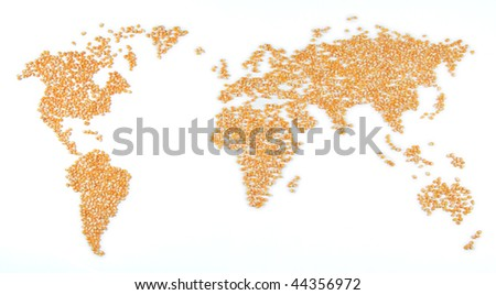 A world map made out of corn, can be used in the context of starvation.