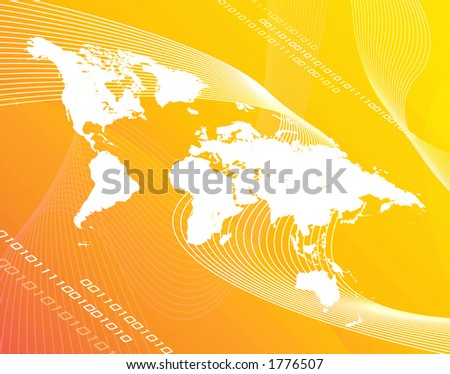 A world map montage over a yellow/orange background.
