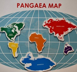 A world map that teaches about Pangea and the old, prehistoric world. It has all seven continents on it including: Antarctica, Australia, the Americas, Asia, Africa, and Europe.