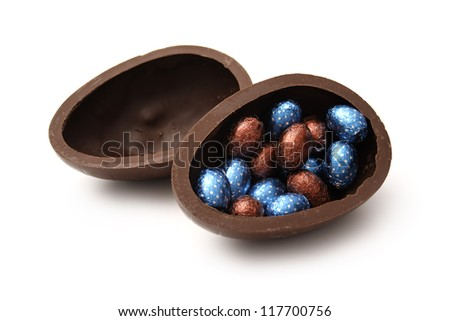 A wrapped chocolate Eggs on white background.