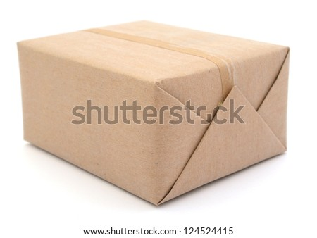 A wrapping mail gift with kraft paper