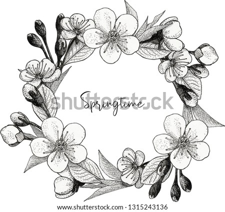 A wreath of blooming apple flowers #1315243136
