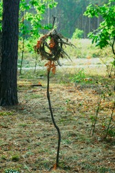 a wreath of forest herbs and the bones of an animal on a stick in the forest , shamanic ritual