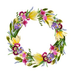 a wreath of spring flowers isolated on a white background. With yellow tulips, freesias, primroses, crocuses and blue snowdrops. Spring celebration concept, spring decoration.
