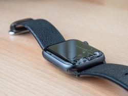 A wrist watch smartwatch with broken glass