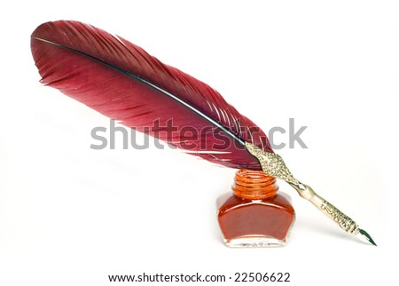 a writing feather isolate on white