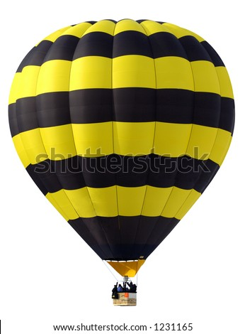 A yellow and black hot-air balloon, with passengers in the basket, against a white background.