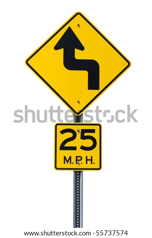 A yellow bend in the road sign
