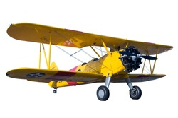 A yellow bi plane isolated on white