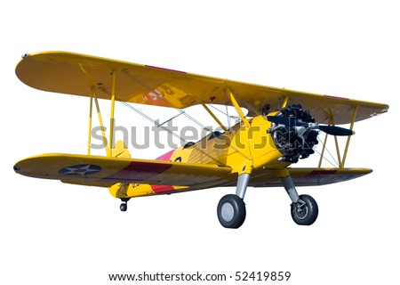a yellow bi plane isolated on...