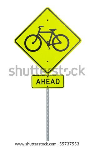 A yellow bike path sign
