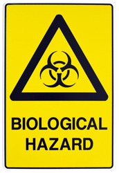A yellow biological warning sign with clipping path
