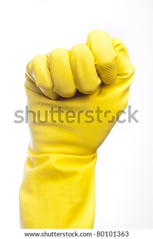 A yellow cleaning glove against a white background
