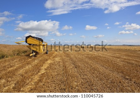 a yellow cutting machine parked in a stubble field  with round bales pattern line and texture next to a crop of ripe canola under a summer blue sky in the yorkshire wolds england #110045726