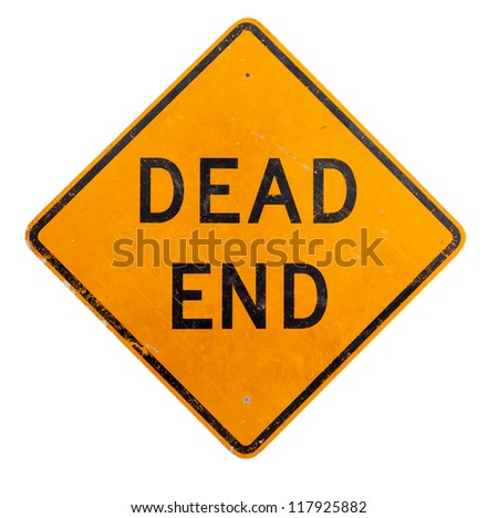 A yellow dead end road sign on a white background