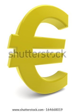 a yellow euro sign with reflection