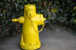 A yellow fire hydrant accessible to fire department.
