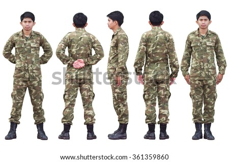 A Yellow military uniform. Military posture by standing straight and stay isolated. #361359860