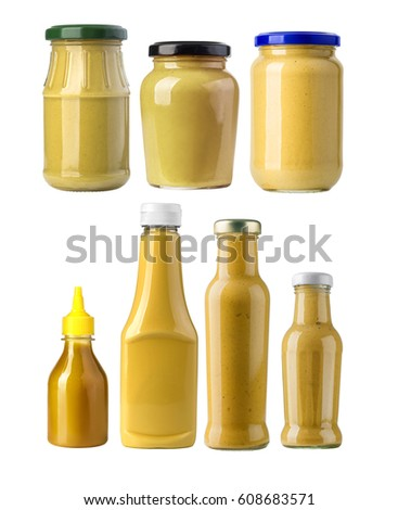 A yellow mustard bottle against a white background with clipping path #608683571