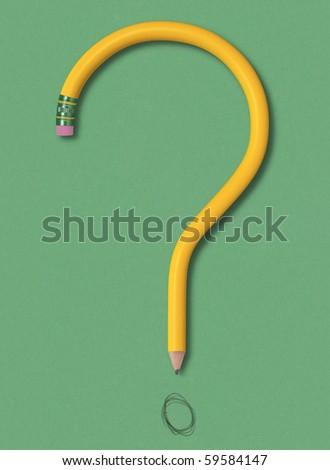 A yellow pencil forming the shape of a question mark on green background. Clipping path included.