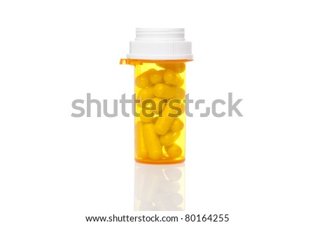 A yellow pill bottle against a white background