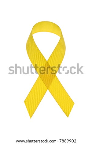 A yellow ribbon for use to symbolize testicular cancer awareness and military support awareness.