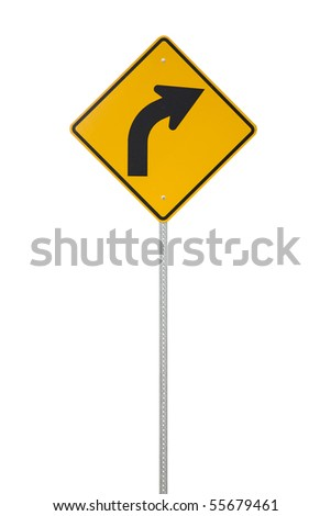 A yellow right turn road sign