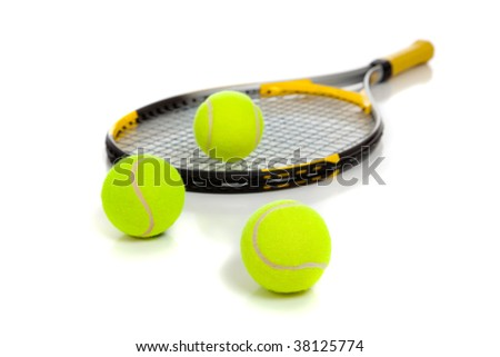 A yellow tennis racquet with yellow tennis balls on a white background