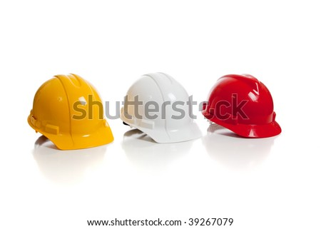 A yellow, white and red hard hat on a white background