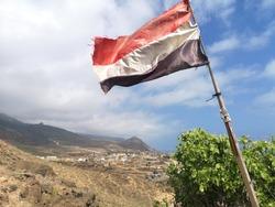 A Yemeni flag in Saana, Yemen
