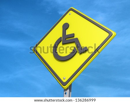 A yield road sign with a Wheelchair symbol