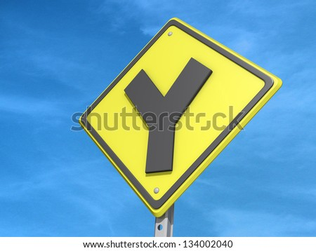 A Yield Road Sign With Y Intersection Icon Stock Photo ... Y Intersection