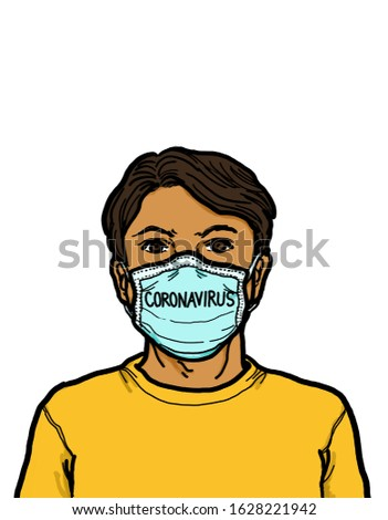 A young adult Asian Chinese man wearing a medical face mask protection to prevent from Wuhan Coronavirus respiratory infection ilness diseases.