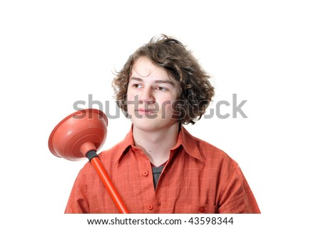 A young adult holding a toilet plunger isolated on white background