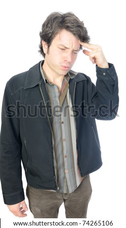 A young adult male experiencing a migraine headache. - stock photo